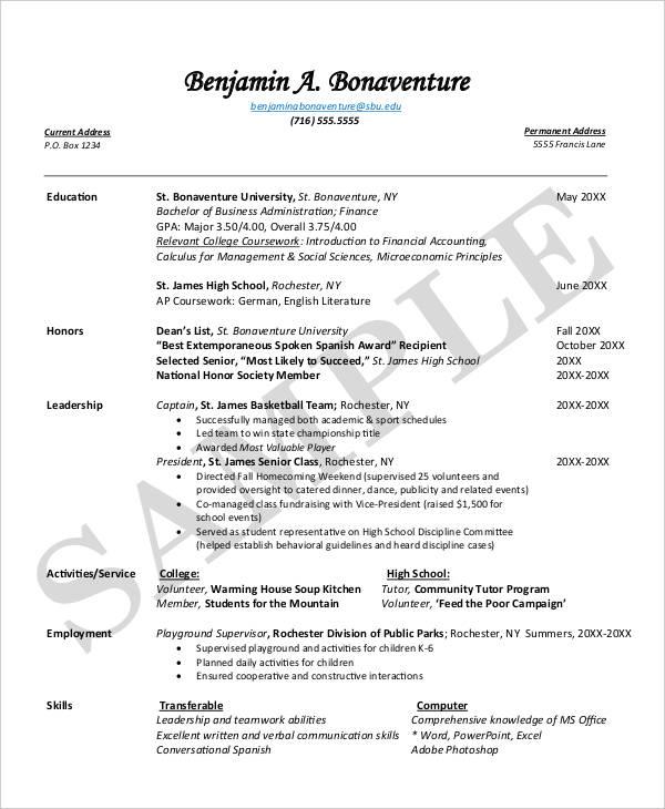 14 First Resume Templates  PDF DOC  Free  Premium