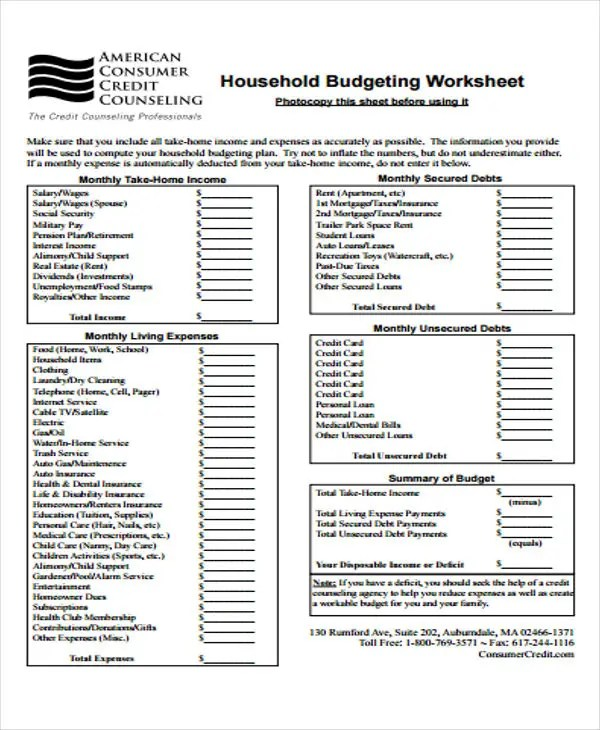 8+ Home Budget Templates - Free Word, PDF, Format Download | Free ...