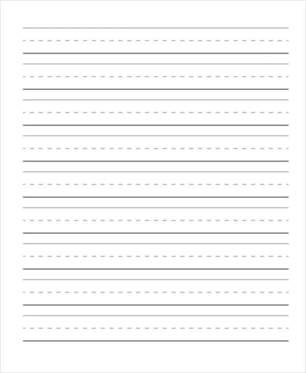 free printable lined paper for kindergarten