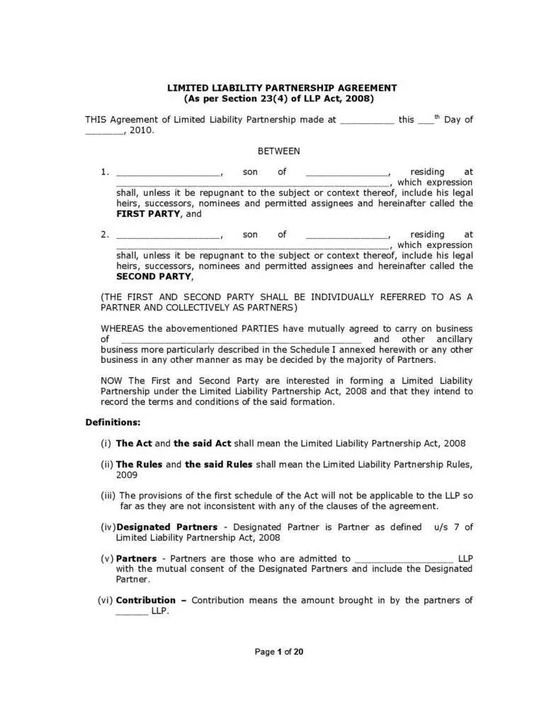 General Limited Liability Partnership Agreement Template