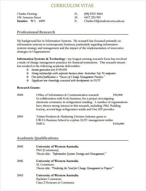 8 Sample IT Curriculum Vitae Templates PDF DOC Free
