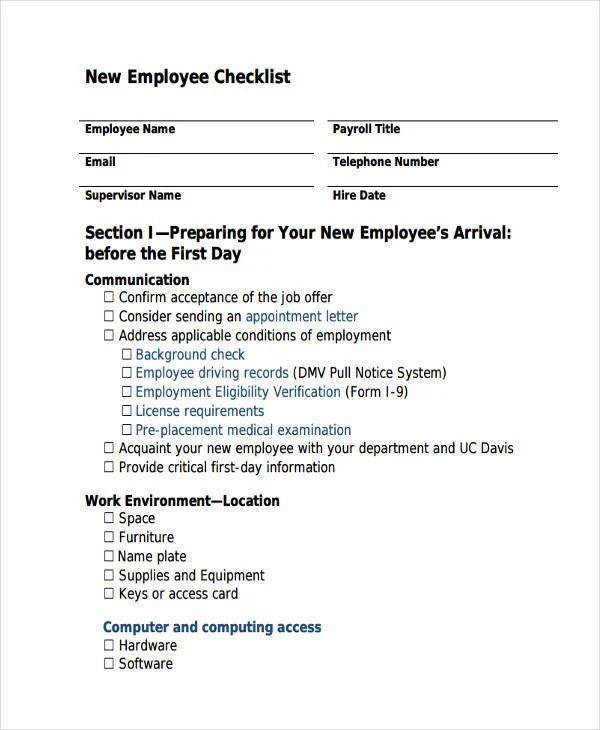 new employee checklist templates