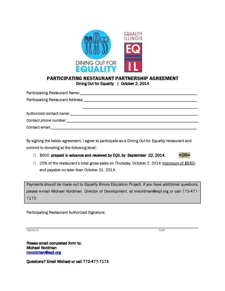 Participating Restaurant Partnership Agreement Template Download