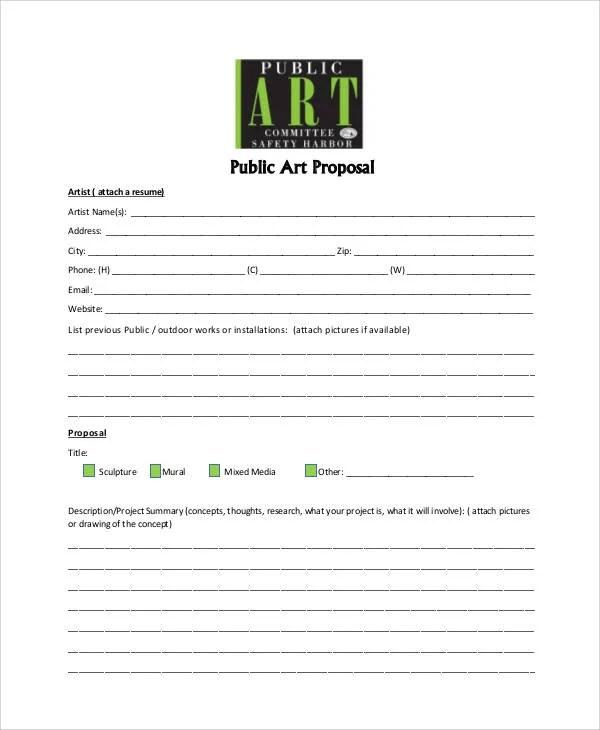 Art Proposal Template 7 Free Word PDF Format Download