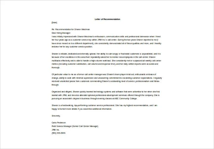 sample recommendation letter employee performance