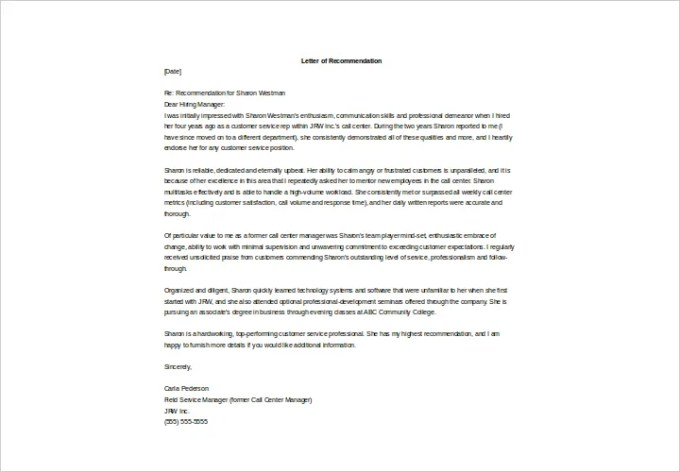 Recommendation Letter Former Employee Image Collections Letter