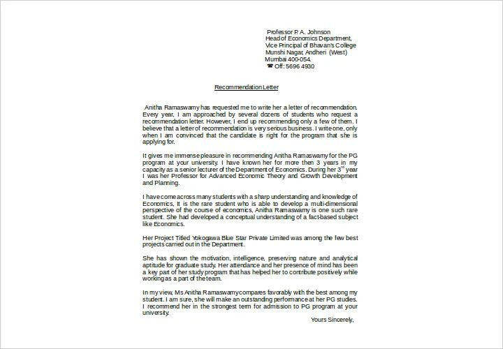 letter of recommendation from principal for student