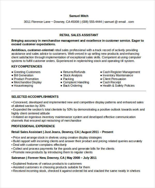 10 Sample Retail Sales Resume Templates PDF DOC Free
