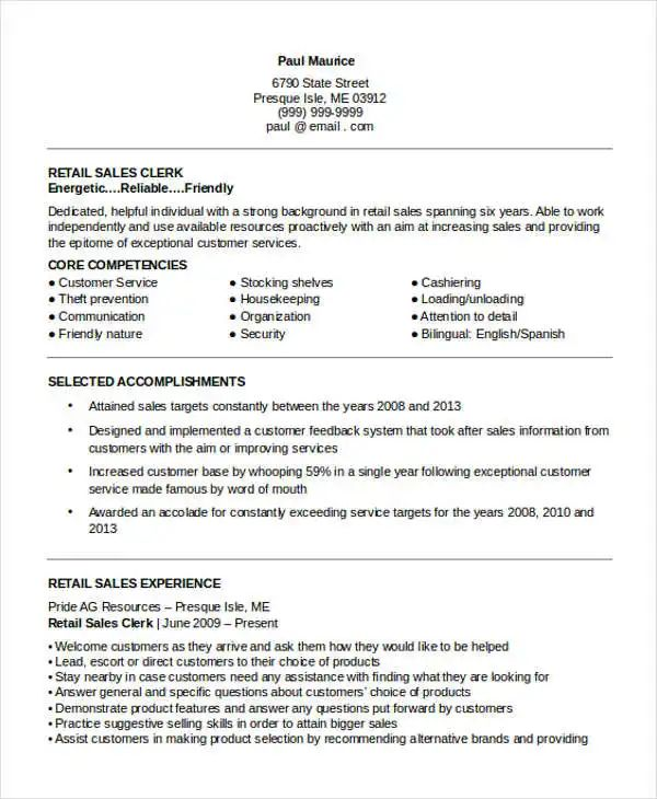 sample resume retail store clerk