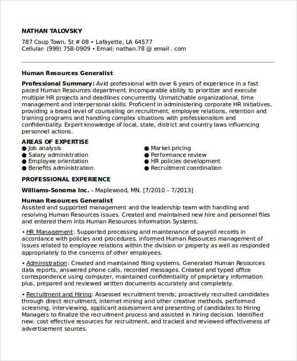 sample resume hr executive generalist