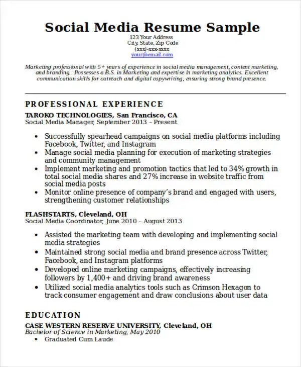 7 Social Media Resume Templates PDF DOC Free
