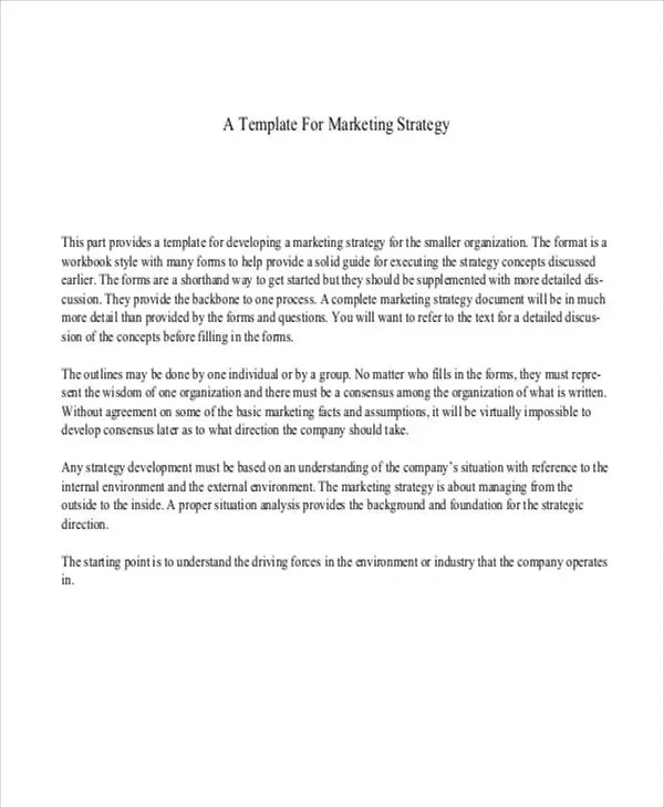 6 Strategy Paper Templates Free Samples Examples