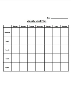 Weekly diet plan template also templates free sample example format download rh