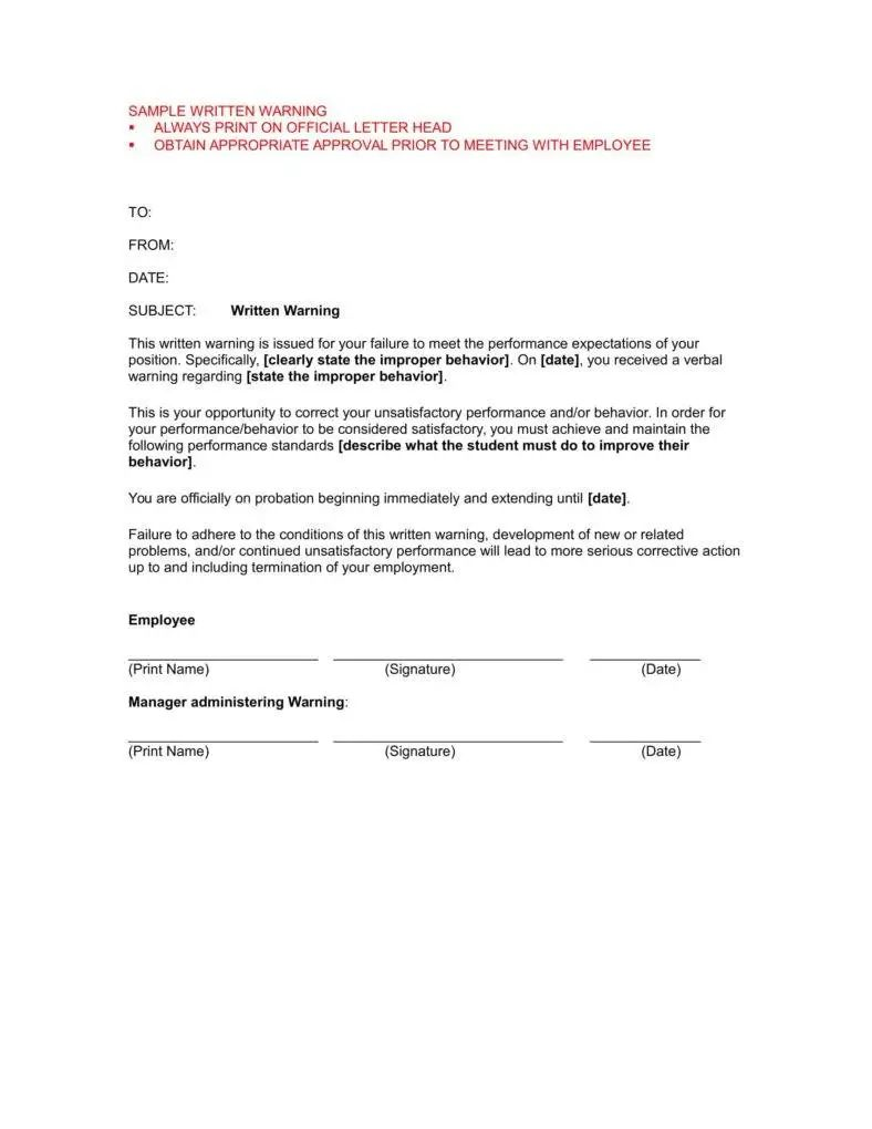 warning letter for absent without approval