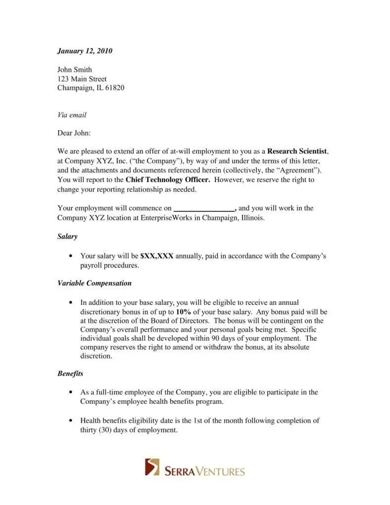 template employment offer letter