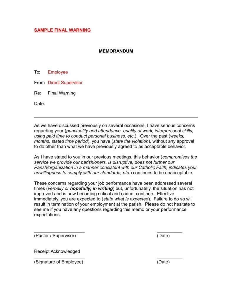employee memo format