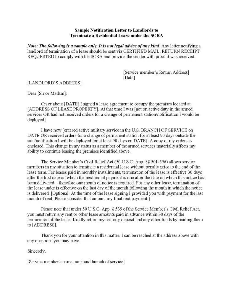termination notification letters