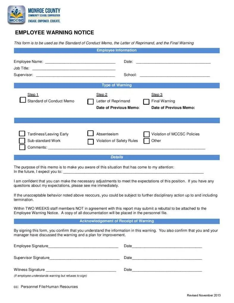 sample employee warning notice