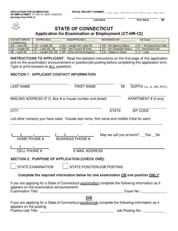 10 Employment Application Form Free Samples Examples