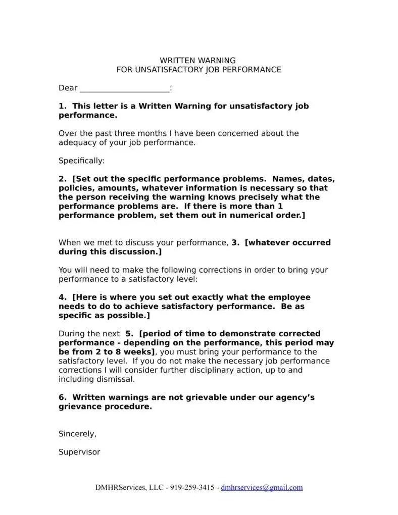 Work Performance Warning Letter Template