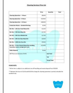 Cleaning service price list also templates free word pdf excel format rh template