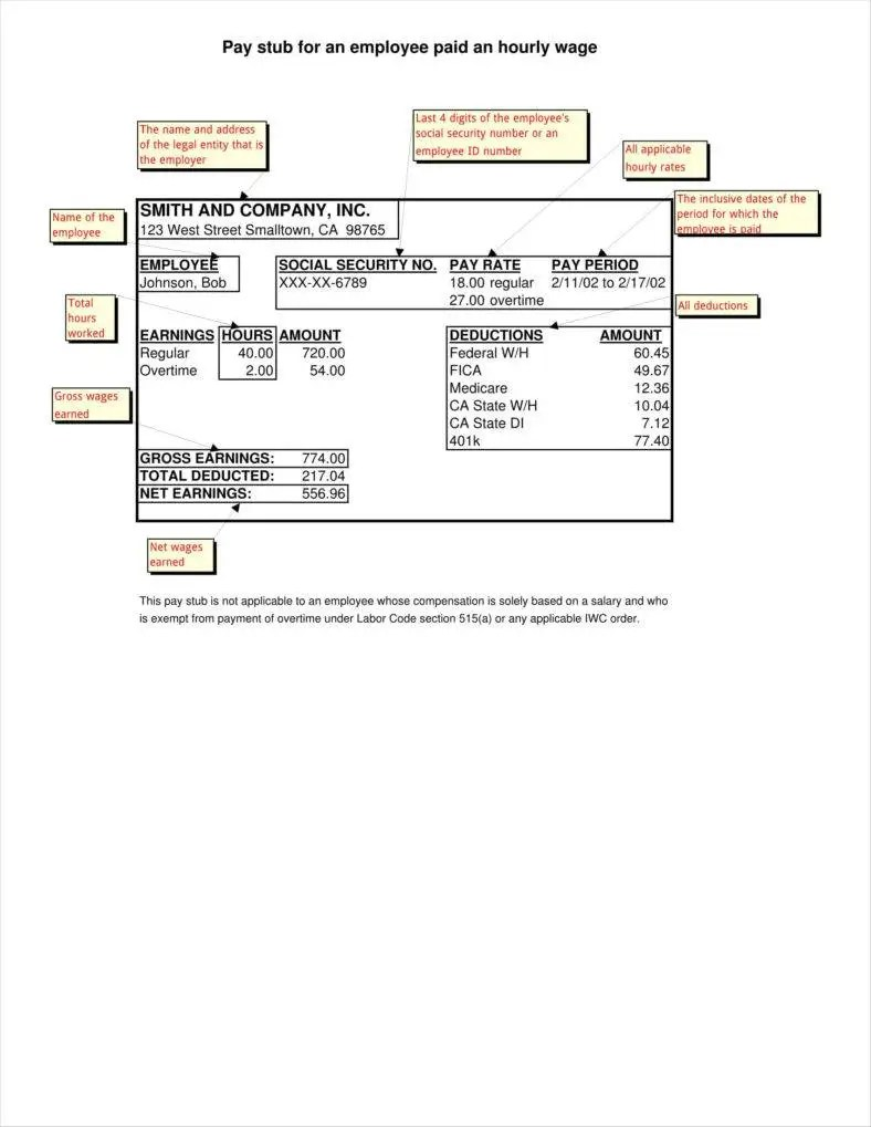 hight resolution of employee pay stub template 11 788x1019