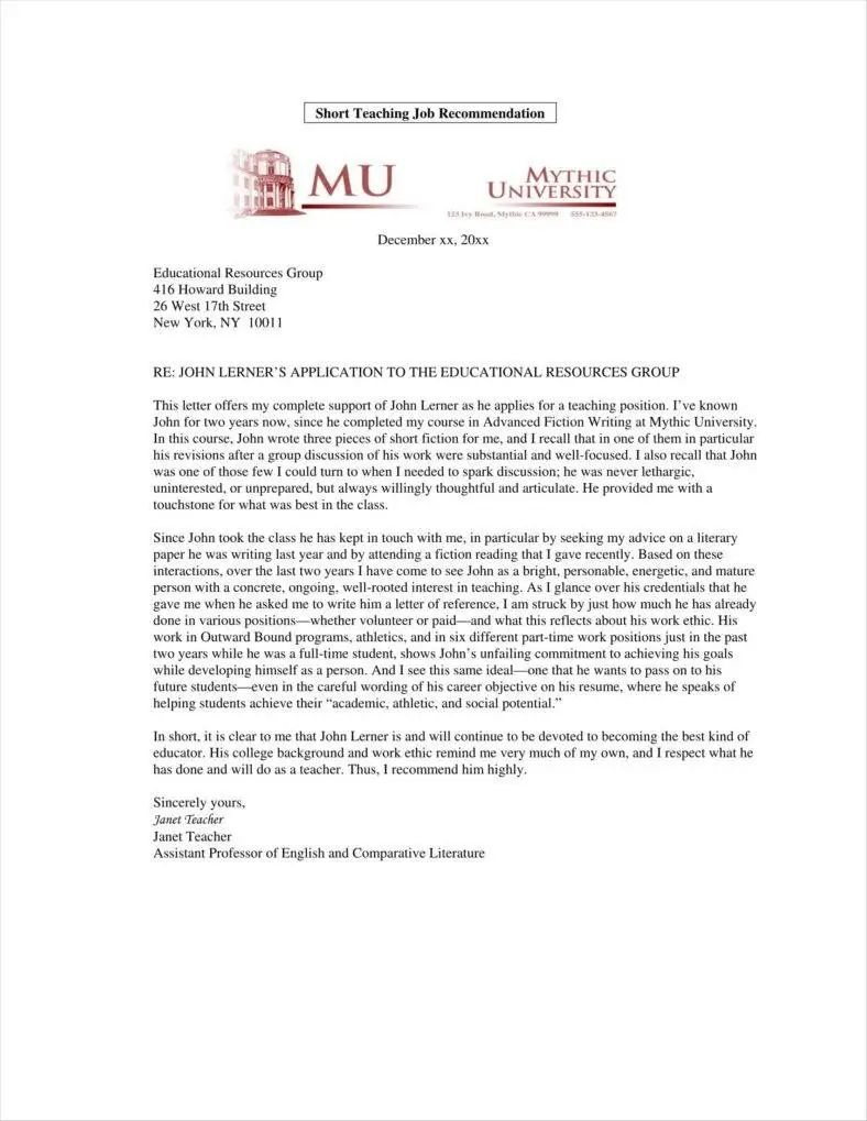 faculty letter of recommendation
