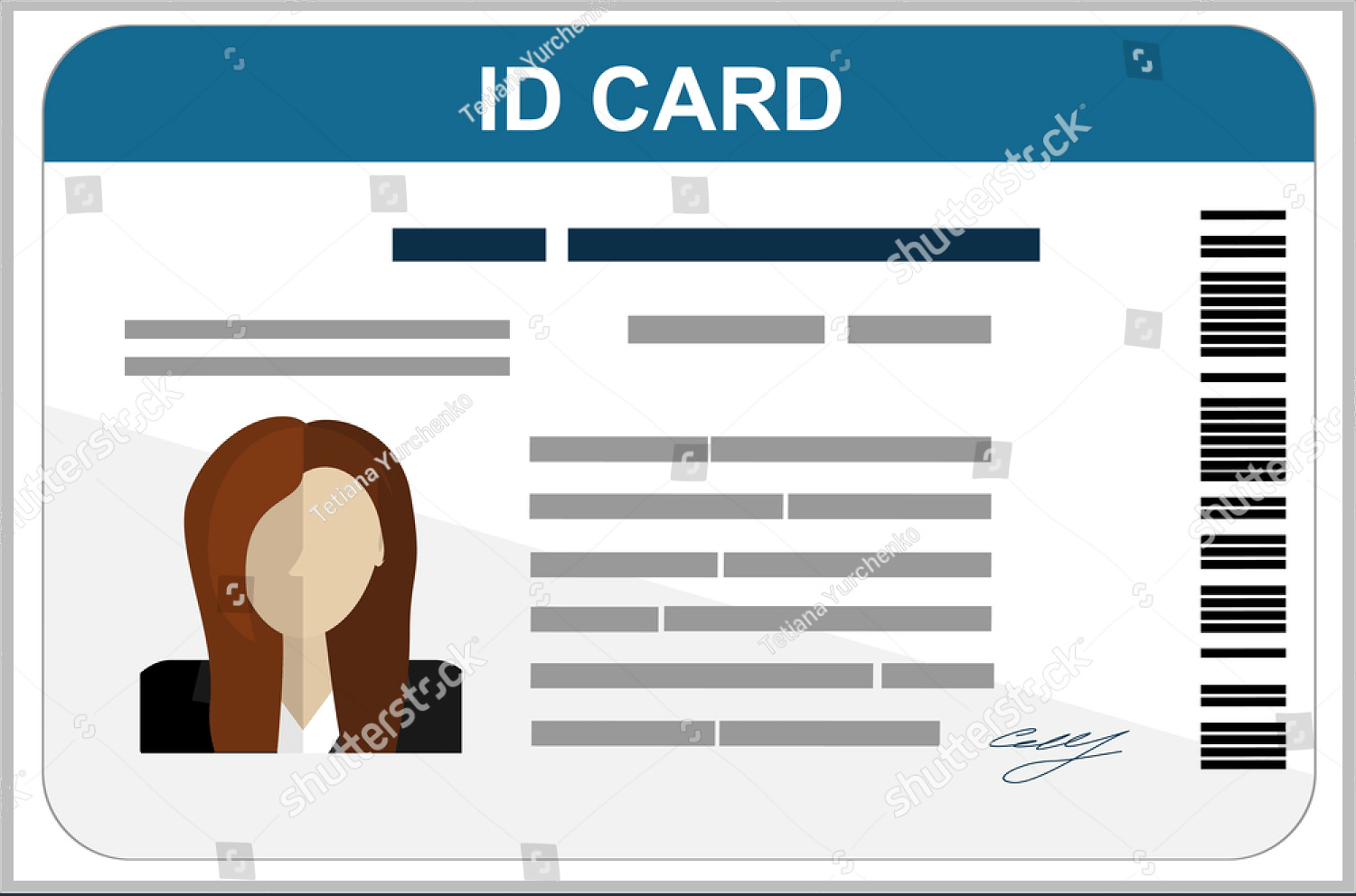 hight resolution of flat design id card template