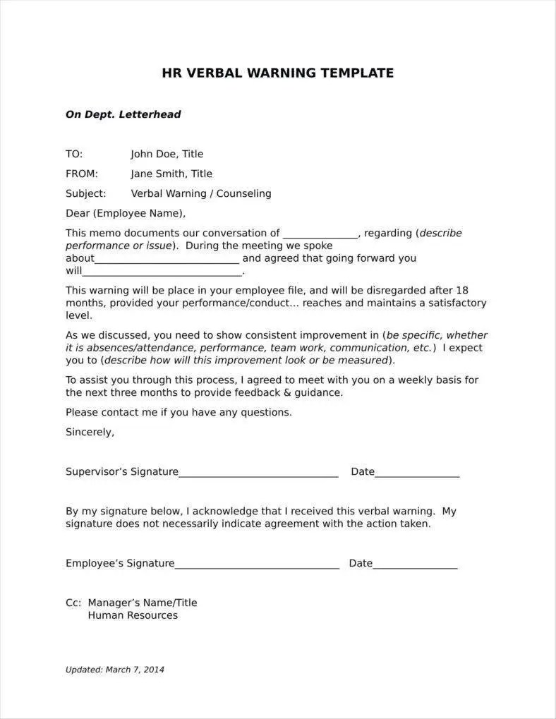 Hr Verbal Warning Letter Example