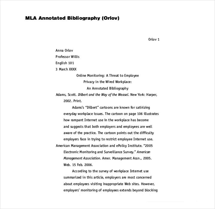 mla bibliography template