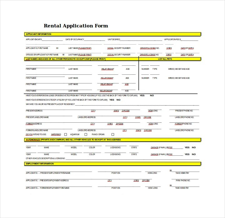 27+ Lease Application Form Templates - Free PDF, Word, Excel Format ...