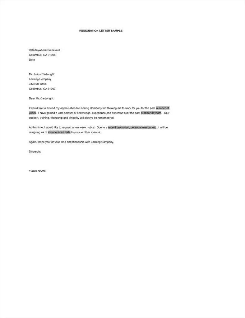 Resignation Letters For Personal Reasons 33 Simple Resign Letter Templates Free Word Pdf Excel Format
