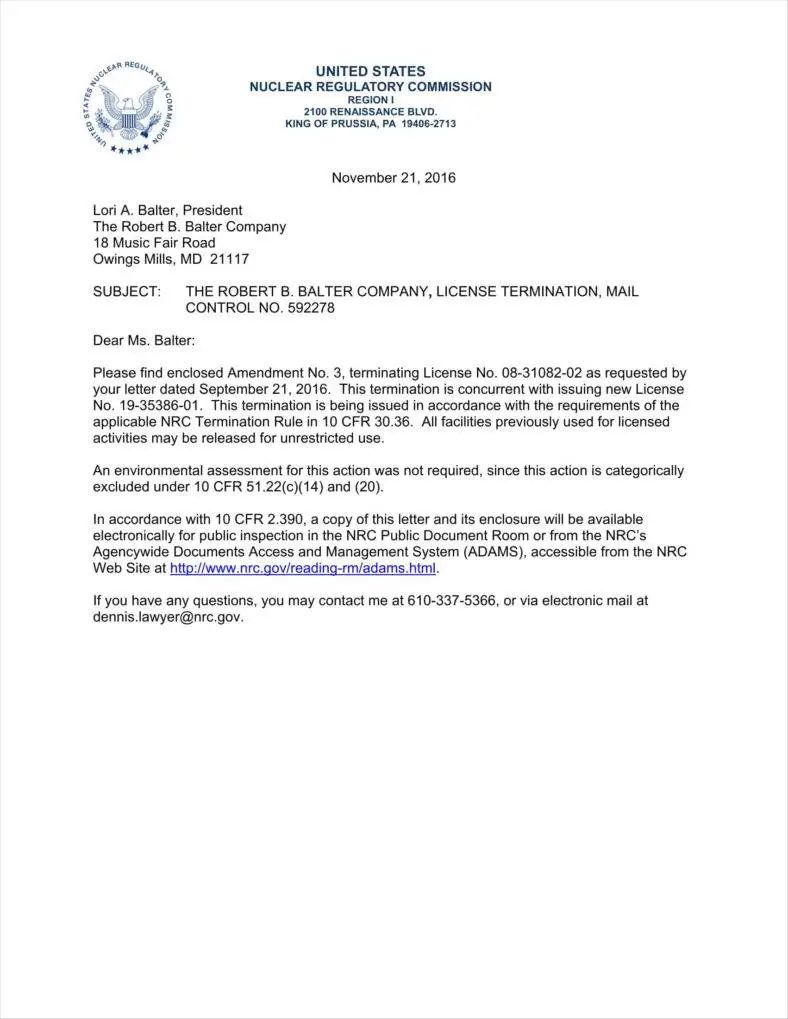 example termination letter