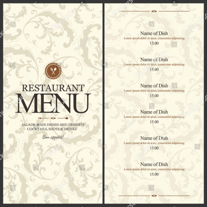 restaurant menu templates free printable