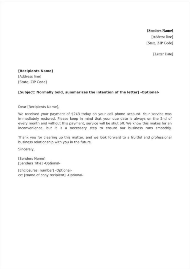 Payment Acknowledgment Letter Templates