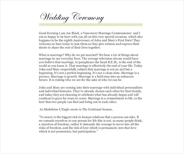 9 Wedding Ceremony Templates Free PDF DOC InDesign Format Download Free Amp Premium Templates