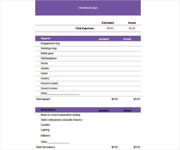 9+ Wedding Budget Worksheet Templates - PDF, DOC | Free & Premium ...