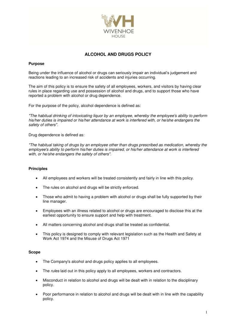 6+ Drug & Alcohol Policy Templates - PDF DOC   Free ...
