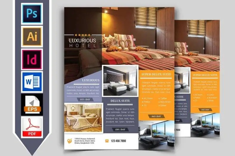 9 Hotel Promotional Flyer Designs & Templates PSD AI