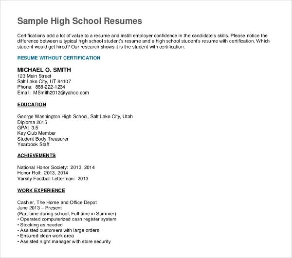 sample resume of recent high school graduate
