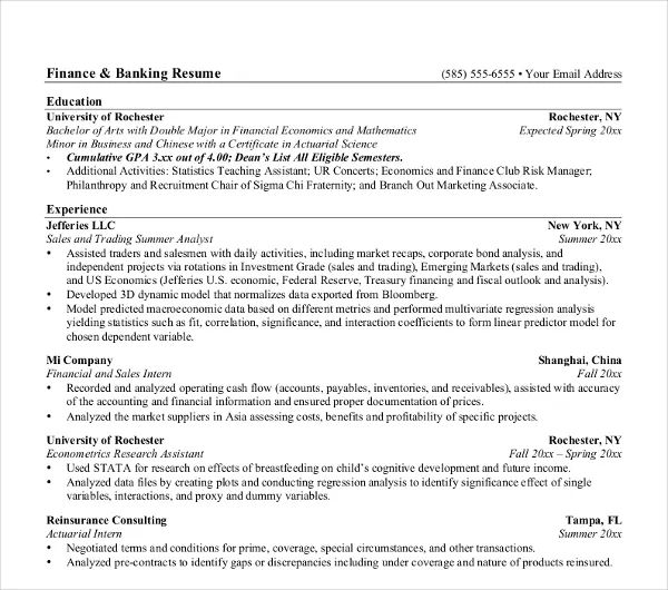resume keywords for banking