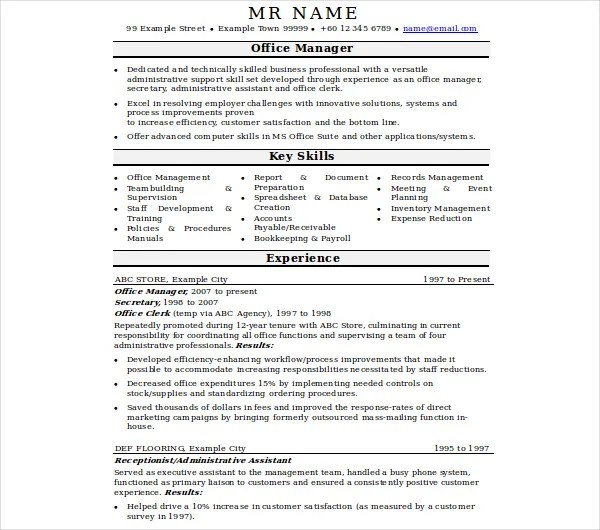 8 Office Manager Resume Templates Pdf Doc Free