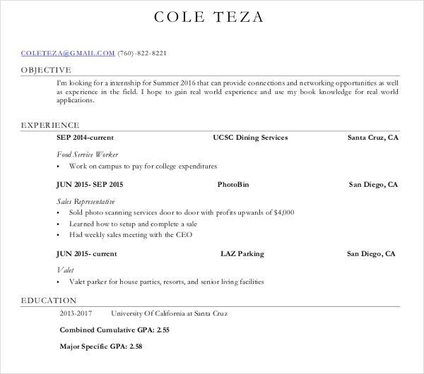 ucsc career center resume template