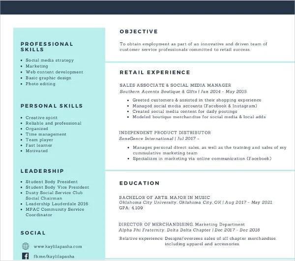 7 Social Media Resume Templates  PDF DOC  Free