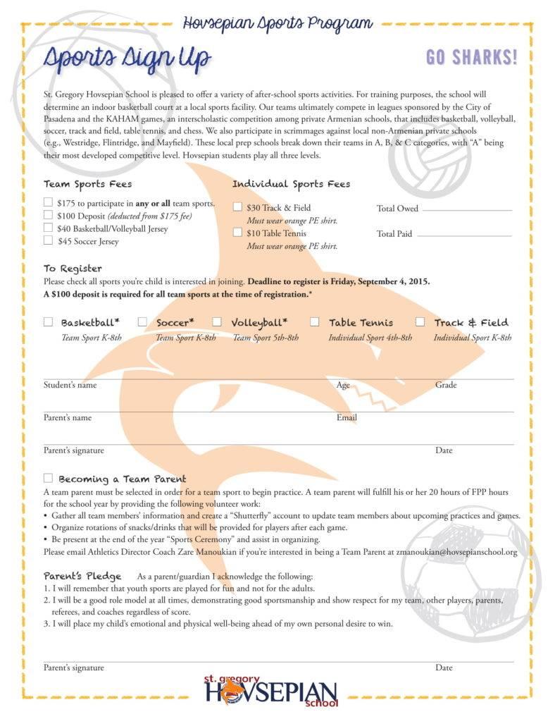 Sports Sign Up Sheet