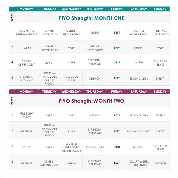 6+ Exercise or Workout Calendar Templates - PDF | Free & Premium ...