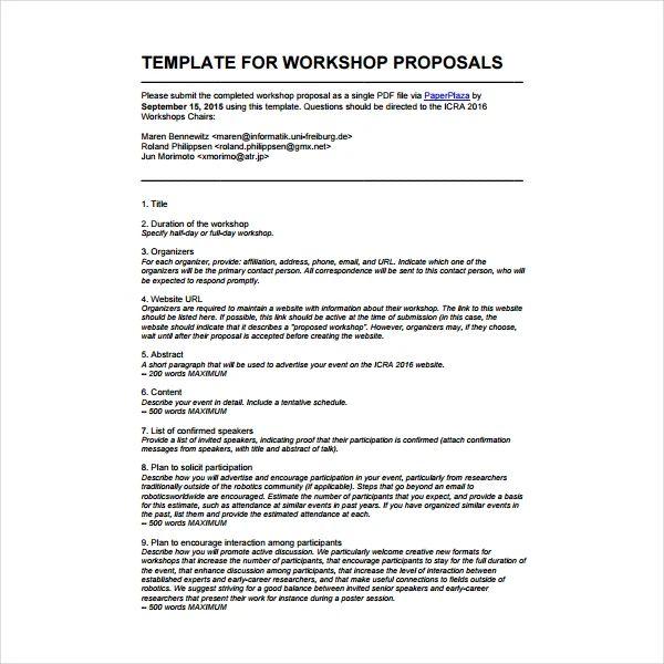 proposal for training workshop