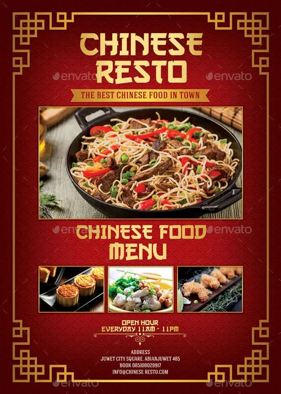 14 Chinese Menu Designs & Templates PSD AI Free