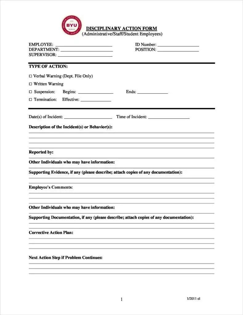 Disciplinary Report Form For Human Resources