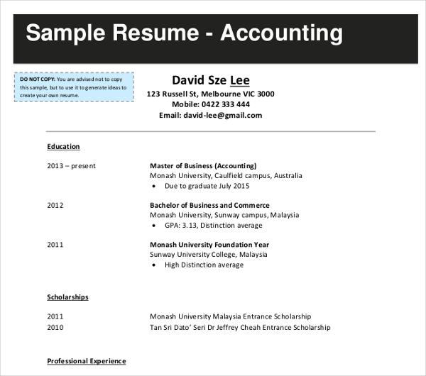 35 Accountant Resume Design Templates  PDF DOC  Free